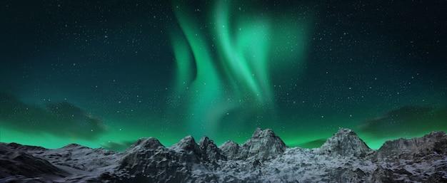Uma bela aurora verde e vermelha dançando sobre as colinas