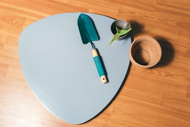 Uma bela foto de algumas ferramentas prontas para uso em jardinagem doméstica