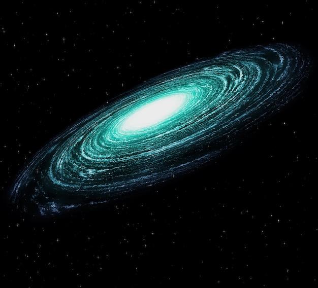 Uma bela galáxia colorida no escuro espaço estrelado