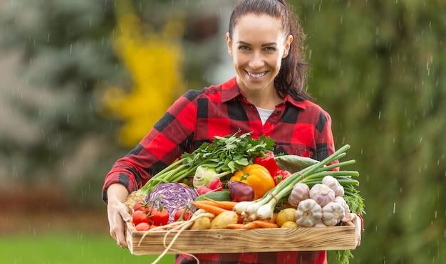Uma bela jovem no jardim carrega uma caixa cheia de legumes frescos. um agricultor feliz e sorridente gosta da chuva, que ajuda na colheita.