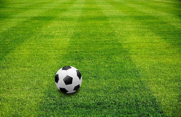 Uma bola na grama verde bonita do esporte de futebol