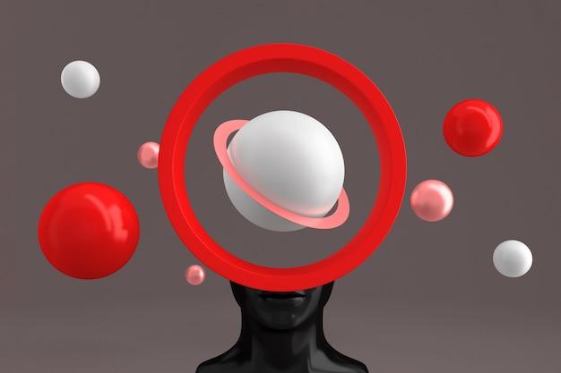 Uma cabeça feminina com um orifício em forma de uma moldura cilíndrica cheia de fé e esferas voadoras em torno de planetas imitando. ilustração 3d