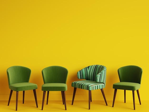 Uma cadeira com as listras coloridas do teste padrão entre cadeiras verdes simples no backgrond amarelo com espaço da cópia. conceito do minimalismo. ilustração digital. renderização 3d simulada acima