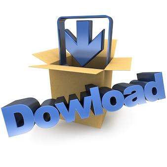 Uma caixa de papelão, uma seta apontando para baixo e a palavra download