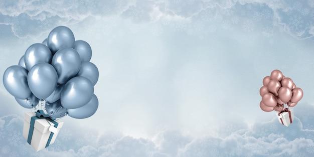 Uma caixa de presente com balões flutuando no céu o céu está cheio de nuvens, renderização em 3d