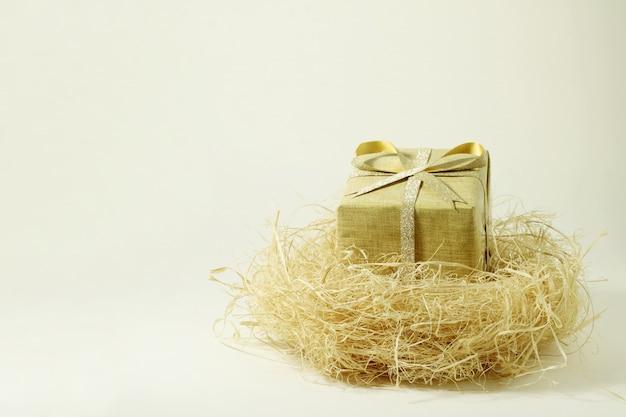 Uma caixa de presente no ninho de um pássaro em branco.