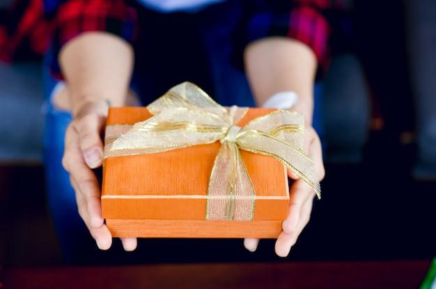 Uma caixa de presente para meninas com chris smooth celebra o dia de ano novo com uma cópia da área de texto.