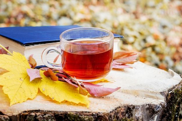 Uma caneca de chá e folhas de outono perto de um livro na floresta em um toco