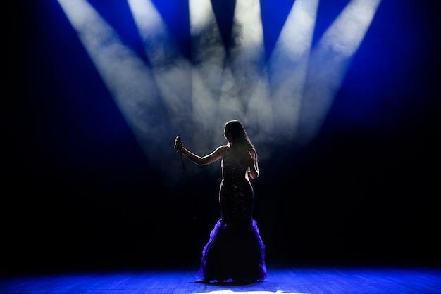Uma cantora jovem no palco durante um concerto.