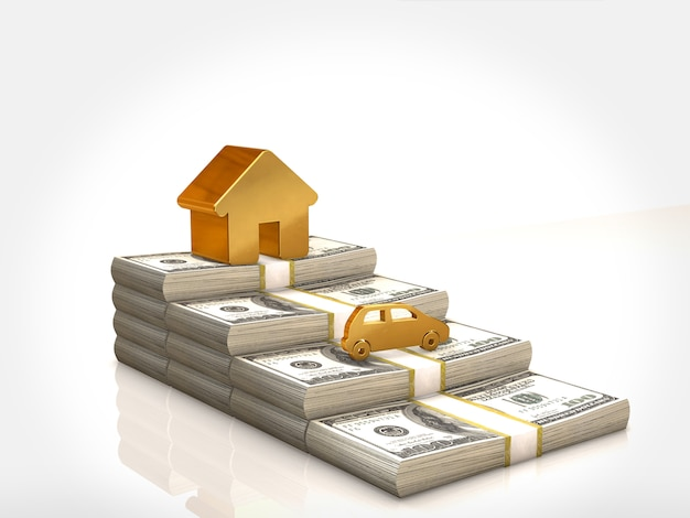 Uma casa dourada e carro dourado em pilhas de dinheiro