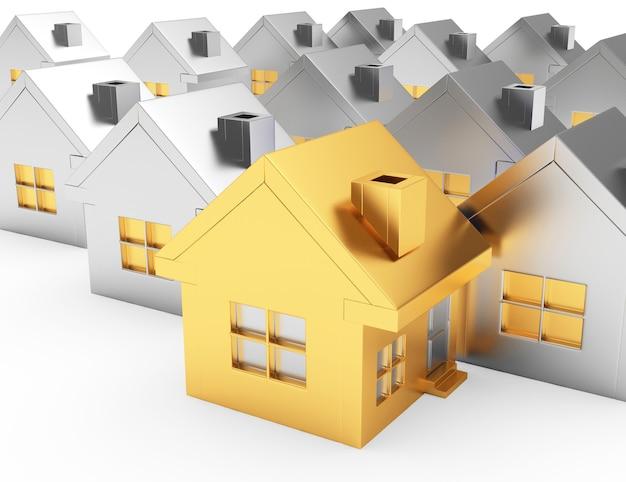 Uma casa dourada e fileiras de casas prateadas