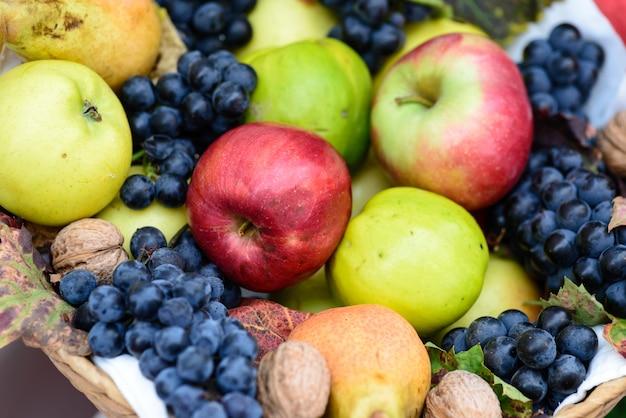 Uma cesta de deliciosos frutos de outono