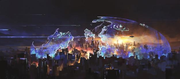 Uma cidade atacada por alienígenas, ilustração de ficção científica.
