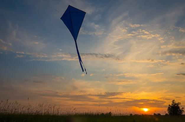 Uma cobra de ar voa contra o céu do por do sol.