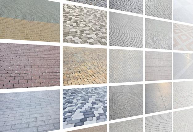 Uma colagem de muitas fotos com fragmentos de telhas de pavimentação close-up