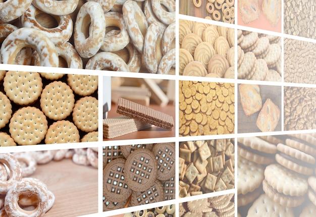 Uma colagem de muitas fotos com vários doces close-up.