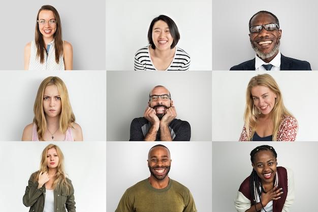 Uma colagem de retrato de estúdio de diversas pessoas