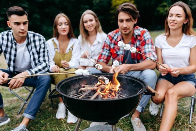 Uma companhia de amigos no acampamento cozinhando alimentos grelhados. fundo desfocado