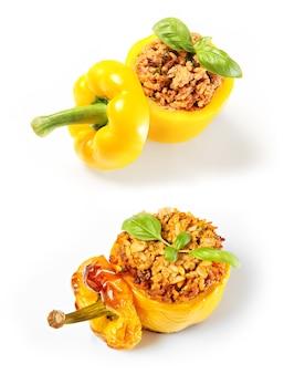 Uma comparação de pimentões recheados assados e não assados