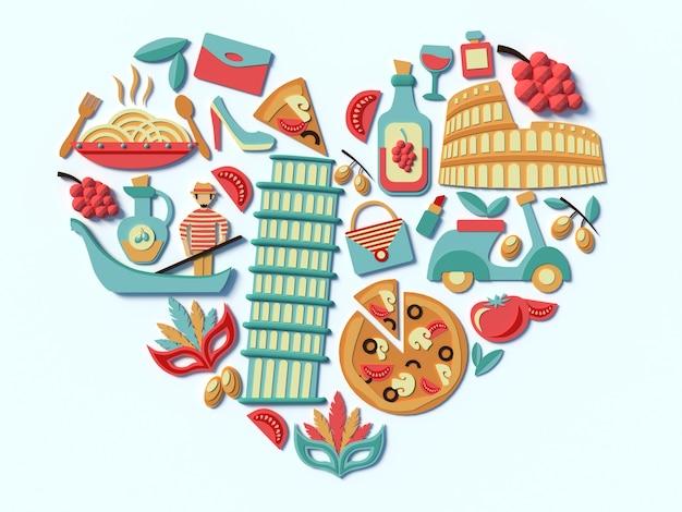 Uma compilação estilizada dos pontos turísticos da itália food e edifícios de roma ícones 3d em forma de coração
