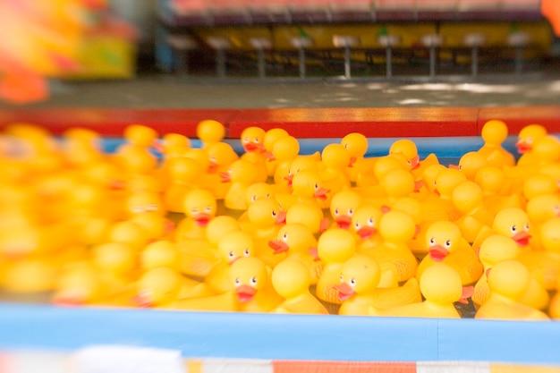 Uma confluência de patos de borracha em uma feira