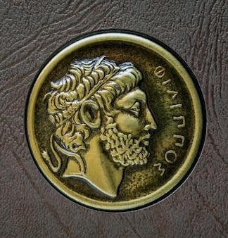 Uma cópia da moeda grega antiga