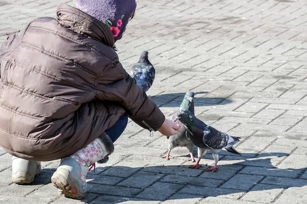 Uma criança alimenta pombos lá fora em um dia ensolarado
