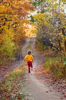Uma criança corre ao longo de uma estrada que se estende na distância coberta com folhas de outono
