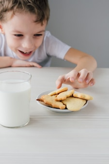 Uma criança rouba um prato de biscoitos caseiros recém-assados