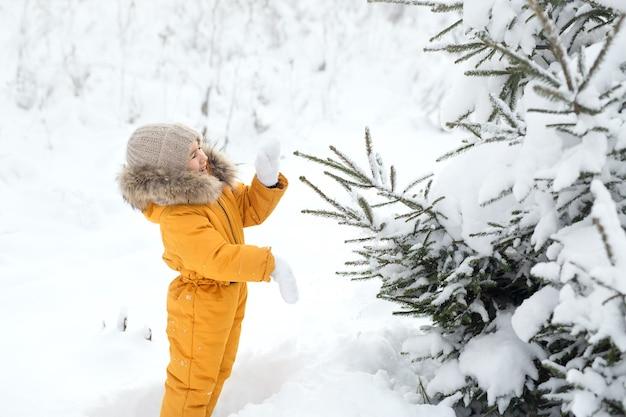 Uma criança sacode a neve de galhos de pinheiro em um dia frio e gelado de inverno