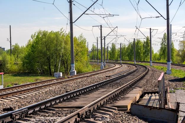 Uma curva acentuada da ferrovia.
