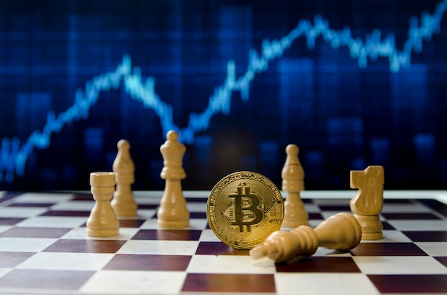 Uma das melhores maneiras de ganhar dinheiro usando criptomoedas bitcoin um conceito de movimento de xadrez vencedor