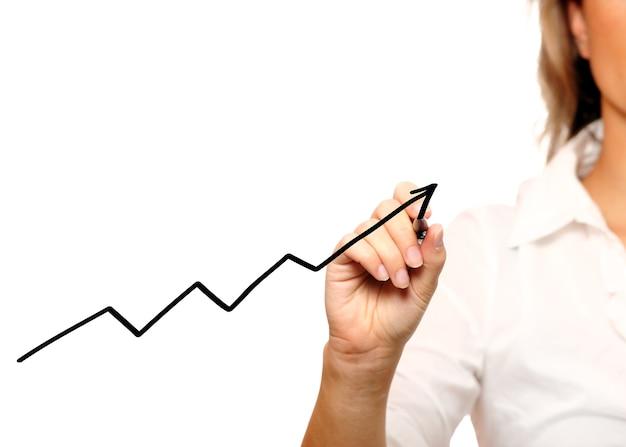 Uma empresária escrevendo um gráfico sobre um fundo branco
