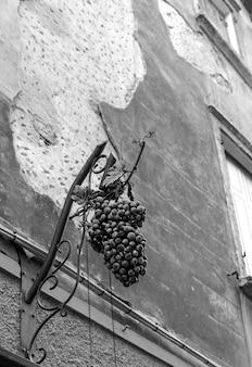 Uma escultura com um cacho de uvas na parede de um prédio no centro de bardolino
