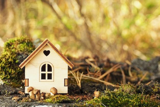 Uma estatueta em miniatura de uma casa de madeira em um tronco de bétula com musgo e cogumelos pequenos.