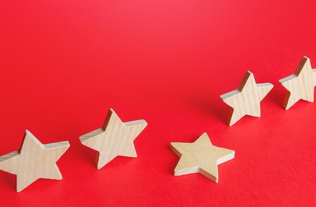 Uma estrela caída de uma fileira perda da quinta estrela queda no prestígio da classificação e redução da reputação