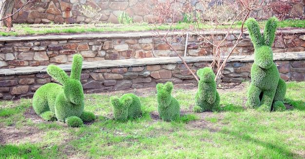 Uma estrutura decorativa na forma de uma linda família de coelhos, feita de grama verde ou arbustos. decoração no parque, estatuetas decorativas