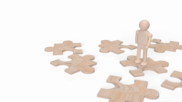 Uma figura humana de madeira no quebra-cabeça para renderização 3d de fundo.