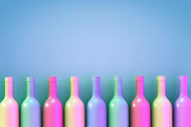 Uma fileira de garrafas de vinho multicoloridas. fundo azul com espaço de cópia.