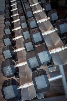 Uma fileira de halteres de vários tamanhos para diferentes exercícios.