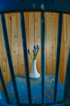 Uma flor com botões azuis atrás de uma treliça de madeira