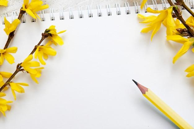 Uma folha em branco do bloco de notas para anotações. ramos de primavera e lápis. zombar de texto