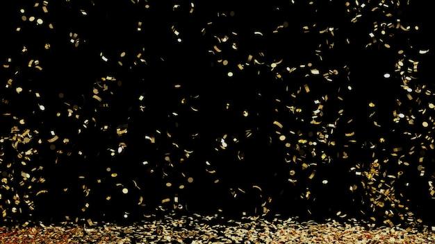 Uma fonte de confetes dourados, caindo no chão em um fundo preto