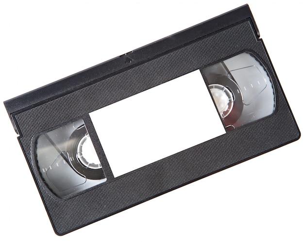 Uma foto de um videotape sobre um fundo branco