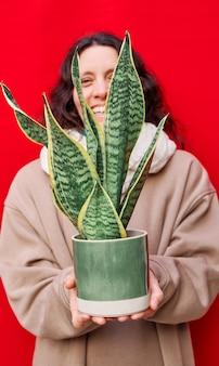 Uma foto vertical de uma linda mulher segurando um vaso com plantas cobras na parede vermelha