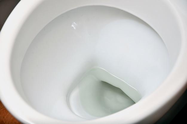 Uma fotografia de um vaso sanitário de cerâmica branca no molho