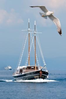 Uma gaivota e um barco de passageiros no mar