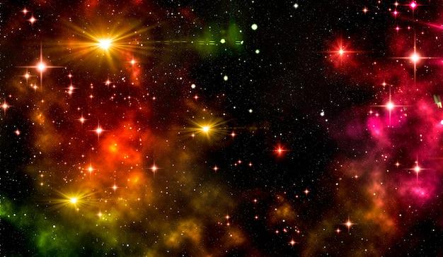 Uma galáxia com uma nebulosa brilhante, estrelas cintilantes e poeira estelar.