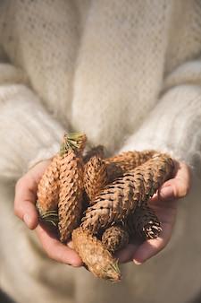 Uma garota caminhando pela floresta segurando cones de abeto nas mãos