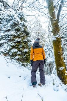 Uma garota caucasiana com uma jaqueta amarela no bosque nevado do parque natural artikutza em oiartzun
